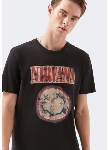 Mavi Nirvana Baskılı  Tişört Siyah